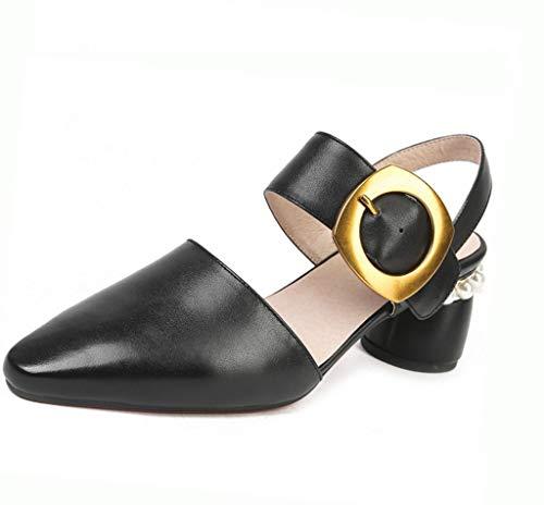 En 6 Negro Zapatos Cm Diamantes Coreana Mujer Punta Suela Hebilla Verano Alta Cuero Tendón Tacón Sandalias Imitación De Versión Alto Metal 1wxFqn7U