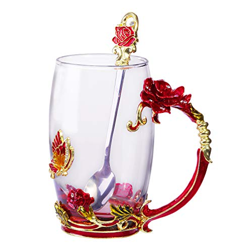 Tea Cup Coffee Mug Cups Clear Glass & Spoon Handmade Butterfly Rose ,12 oz (Rose Box) -