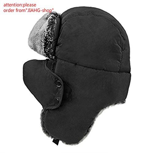 Unisex Teens Winter Hat with Ear Flaps Kids Outdoor Faux Fur Trapper Cap Girls Boys Thermal Lined Ushanka Russian Ski Snowboarding Hat with Windproof Face Mouth Mask Kids Full Coverage Trooper Hat