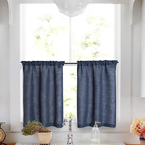 Linen Tier Curtains 24 inch Rod Pocket Kitchen Living Room Flax Rustic Indigo Blue Window Treatments 2 - Curtain 24 Tier Inch