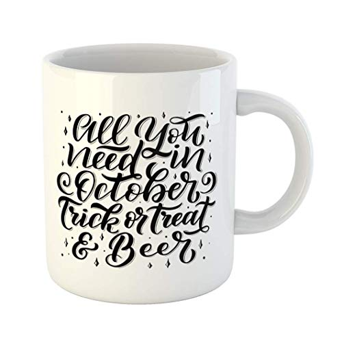Fabri.YWL 11 OZ Coffee Mug Alcohol Lettering Quote About October Brush Pen Phrase Cute Letters for Oktoberfest and Halloween Bar White Ceramic Glossy Tea Cup,Motivational Mug,Fun Mugs,Funny -