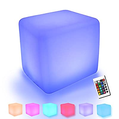 YUMEITECH Outdoor Indoor RGB Color Changing LED Cube/Ball Lights with Remote Control ,Rechargeable,Mood Lamp ,Waterproof,Glowing Furniture,Floating LED Pool Glow Light, Living Garden Light Décor