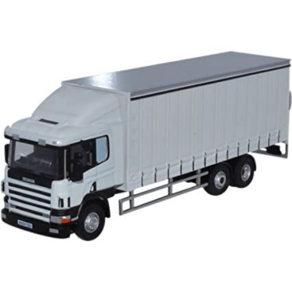 Oxford Diecast 76s94003 Scania 6 Roue Rideaux Camion Blanc Oxford