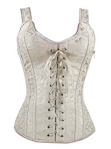 Corset Style Vest (V.C.Formark Women's Brocade Bandage Vest Royal Bodice Corset Top,Ivory,M)