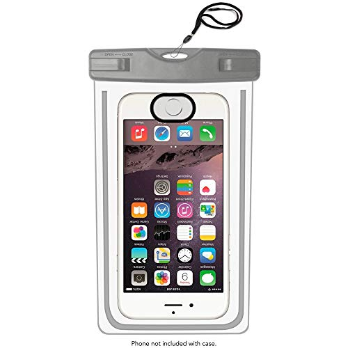 MRProdux Universal Waterproof Phone Pouch with Fingerprint Reader Compatible with iPhone, Samsung Galaxy, 6.5 Inch, Grey (Fingerprint Scanner Iphone)