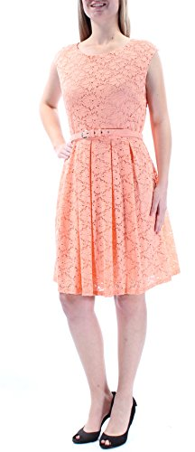 Alfani Floral Dress - Alfani Womens New 1234 Coral Floral Lace Belted Fit + Flare Dress M B+B