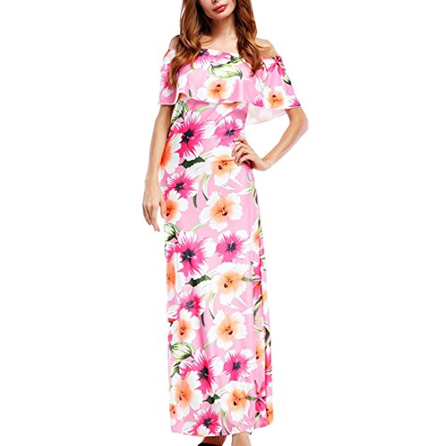 Maxi hombro floral grande Bodycon Retro bola de Mujeres del elegantes vestido Talla Estampado c fuera AHnvqx