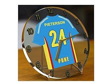 MyShirt123 – Reloj, diseño de camiseta de la Premier League de cricket de India, personalizable: Amazon.es: Hogar