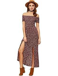 Floral Maxi Dress Bohemian Print Off Shoulder Summer...