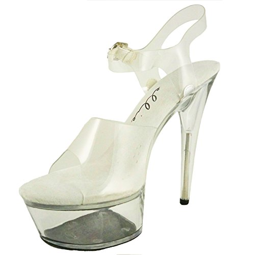 Ellie Shoes Women's 6 Inch Pointed Stiletto Heel Sandal with Ankle Strap (Clear;5)