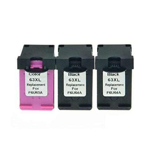 Superink 3PK F6U64A F6U63A Black Color Ink Remanufactured Set For HP 63xl Ink Cartridge Combo Pack Deskjet 1110 1112 2130 Printers,480/330 Pages Yield, Show Ink level(2 Black+1 Color)