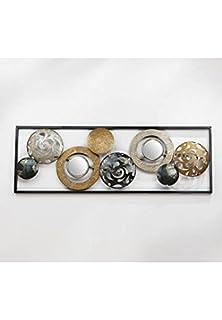 Rattan im Trend Décoration murale en métal Anneaux et cercles argentés,  dorés et gris avec 96e208ee3788