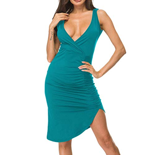 Dress for Women ! Women Sexy Deep V-Neck Sleeveless Solid Casual Bodycon Party Dress(L,Blue