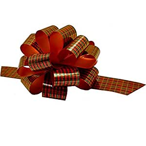 """Red Green Tartan Christmas Gift Wrap Pull Bows - 5"""" Wide, Set of 10"""