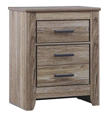 Ashley Furniture Signature Design - Zelen Nightstand - Vintage Finish - Warm Gray - CONTEMPORARY BEDSIDE NIGHTSTAND: If you're looking for effortless elegance, you've got it. This sleek piece is dressed with weathered, timeworn charm. Set it in your bedroom and you'll surely have elevated style 2 DRAWERS: With 2 smooth-gliding drawers, this small table is perfect for storing all of your bed side essentials. Crafted with engineered wood in a replicated oak grain RUSTIC CHIC DETAILS: Softly weathered elements like antiqued drawer pulls and an earthy, aged wood finish softens the clean-lined look - nightstands, bedroom-furniture, bedroom - 41Zik%2BQ0tWL -