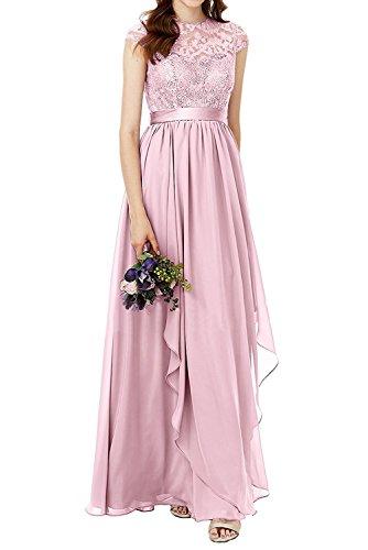 Partykleider Lilac A Lang Abendkleider Spitze Damen Rosa Charmant Brautjungfernkleider Brautmutterkleider Rock Linie Chiffon BqwAyY4