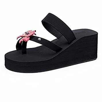 BTBTAV NeUE Seaside Holiday Resort Mit Dicken Boden Blumen Strand Schuhe High Heels Und Anti-Skid Flip Flops.UK...