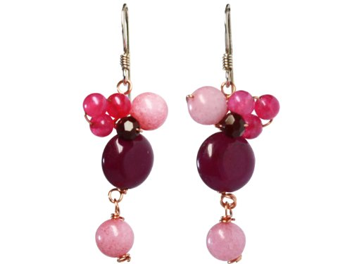 BDJ Handmade 3 Tone of Red Color Stone Drop Dangling Earrings