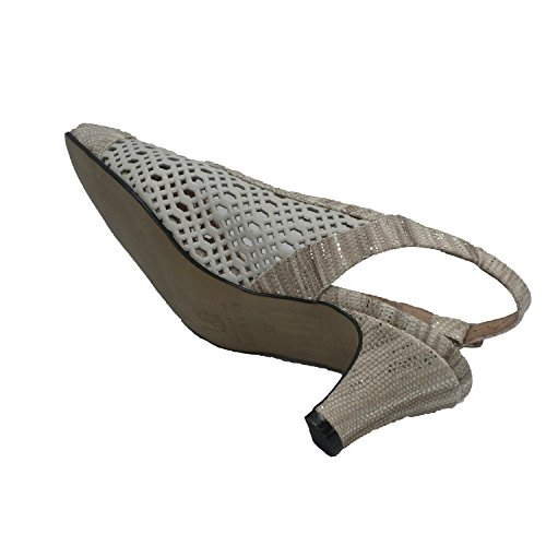 MADE IN SPAIN Zapato Abierto Por Detrás Mujer Calado Puntera Serpiente Trebede EN Beig