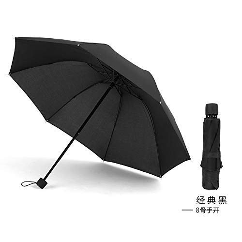 GGJYW 8 Bone Reverse Folding tri-fold Umbrella Manual Male Business Umbrella, Classic Black (8 Bones Open) ()