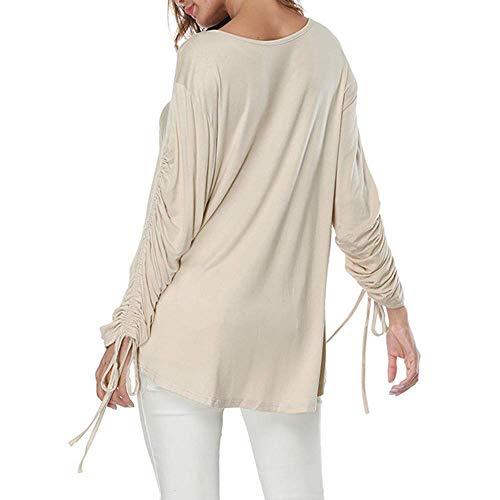 V 12 Beige longues Muk Zhrui Cn avec Taille shirt à T manches large Blouse couleur Beige HwBaqf