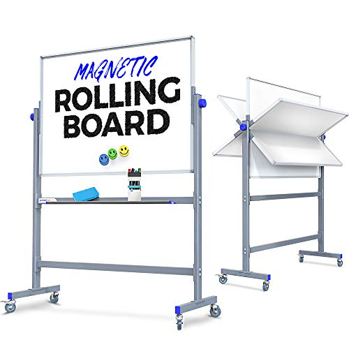 Mobile Whiteboard |48x36| Rolling Magnetic Large Double-Sided Flip Over Dry Erase White Board for Office or Classroom - Conveniently Rolls, Stands in Place, or Wall-Mounts - Aluminum Frame