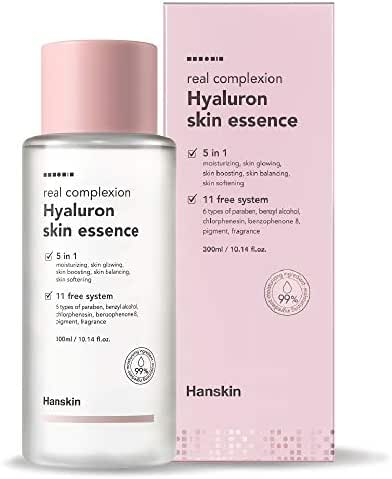 Hanskin Real Complexion Hyaluron Skin Essence - Hyaluronic Acid, Moisturizing, Glowing, Soft & Fragrance-Free. Hanskin Official. [300 ml]