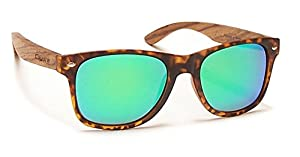 Coyote Eyewear Woodie Polarized Sunglass with Natural Wood Temples, Tort/Zebrawood/Green Mirror