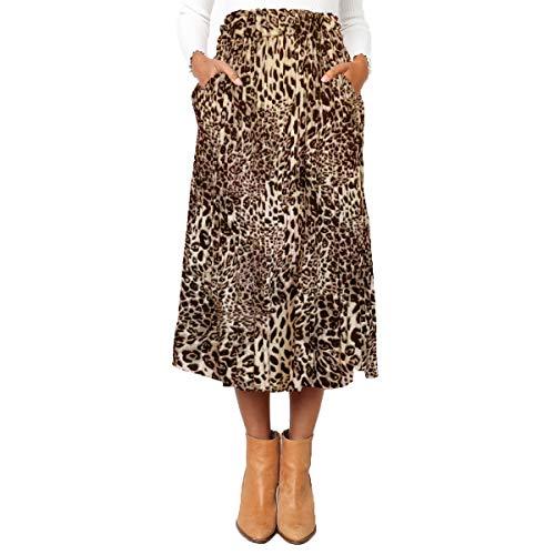 Astraet Women's High Waist Polka DotLeopard Pleated Midi Skirt with Pockets Leopard Brown S