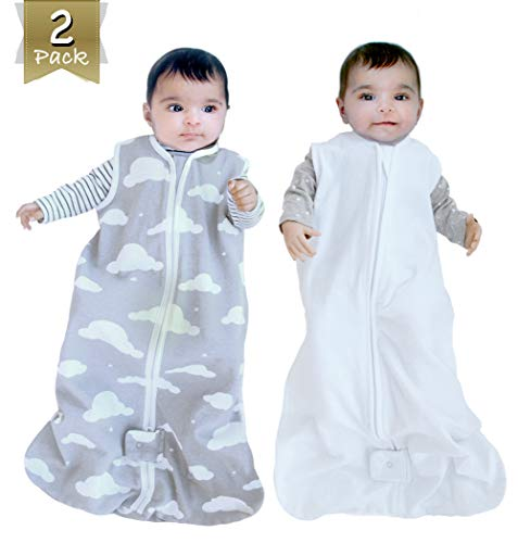 2 Pack Organic Cotton Wearable Blanket, Sleep Sack for Boy or Girl, Gray Cloud / White (Small)