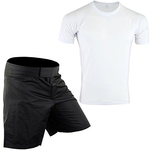 (ROAR MMA Rash Guards & MMA Shorts Set Jiu Jitsu Fight Wear UFC Training Shorts (Blk/White, Small))
