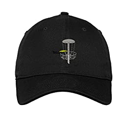 Speedy Pros Disc Golf Embroidered Unisex Adult Flat Solid Buckle Cotton Unstructured Hat Low Profile Cap – Black, One Size