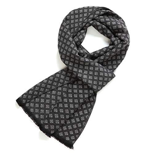 (FULLRON Men's Cashmere Cotton Scarf Silky & Warm Scarves, Dark Gray/Grey )