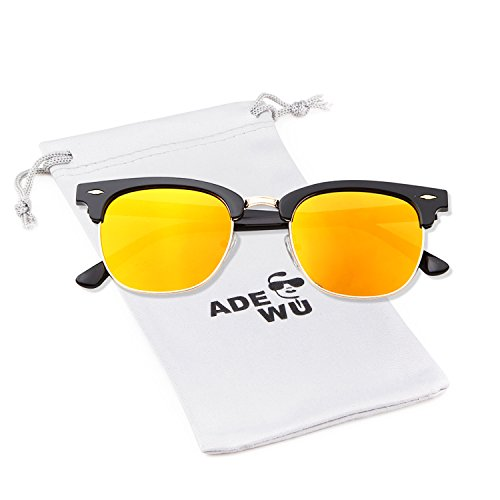 de marco de Marco mujer gafas sol Rojo espejo Espejo 1 aviador para con medio Lente Gafas Negro ADEWU 8v5xqfgw