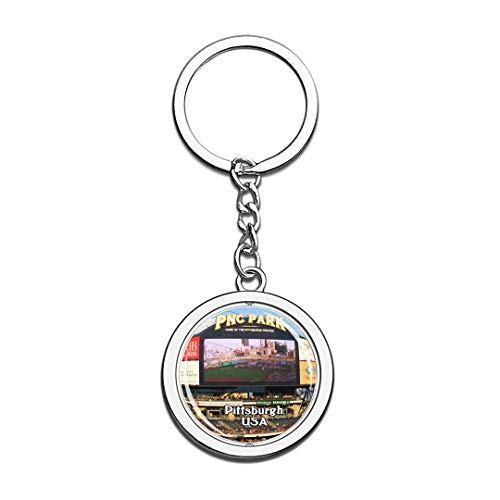 USA United States Keychain PNC Park Pittsburgh Key Chain 3D Crystal Spinning Round Stainless Steel Keychains Travel City Souvenirs Key Chain Ring]()