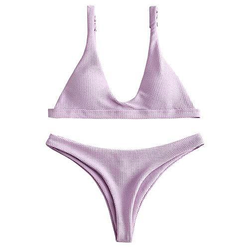 (ZAFUL Women Padded Scoop Neck 2 Pieces Push Up Swimsuit Revealing Thong Bikinis V Bottom Style Brazilian Bottom Bra Sets (M,)
