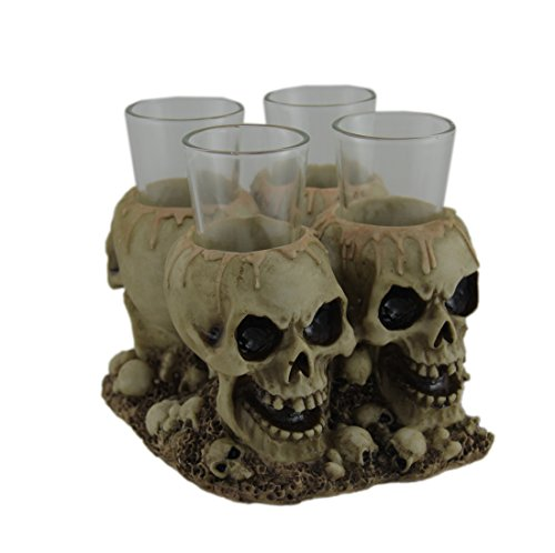 Creepy Gothic Human Skull Shot Glass Holder With 4 Shot Glasses -