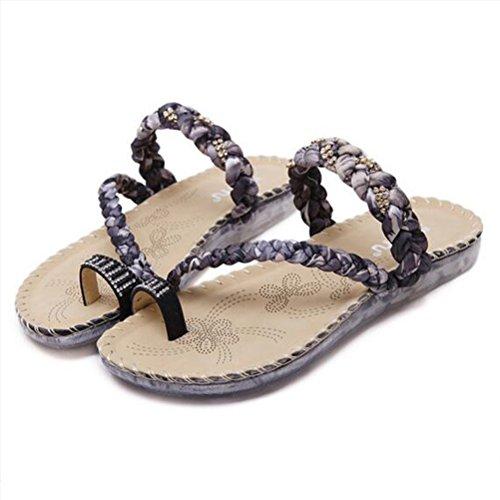 leader Cool Black Pellizcar Zapatillas Rhinestone con de 2cm Antideslizante Beauty playa Mujeres zapatillas Zapatos Plano Suave FnqZwZ4Xxd