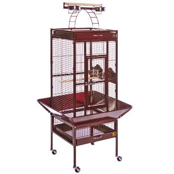 Prevue Hendryx Small Wrought Iron Select Bird Cage / Safe With Grille Clip Aand Cage Stand, Color - Garnet Red Finish