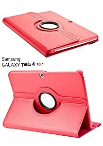 KIKI 360 Rotating Carrying Case Stand for Samsung Galaxy Tab 4 10.1 T530 T531 (Red)