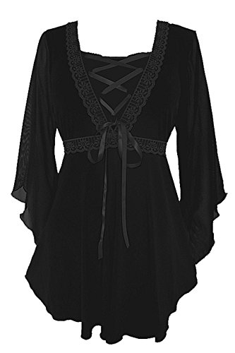 Dare to Wear Victorian Gothic Boho Women's Plus Size Bewitched Corset Top Black/Black 2x