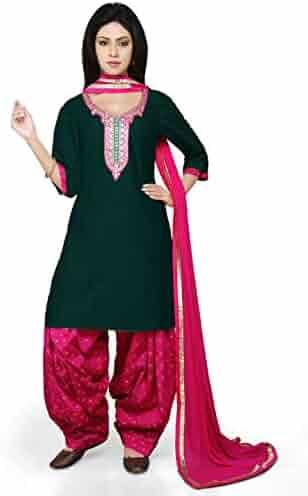 898aeab936 Utsav Fashion Gota Patti Cotton Silk Punjabi Suit in Dark Green Colour