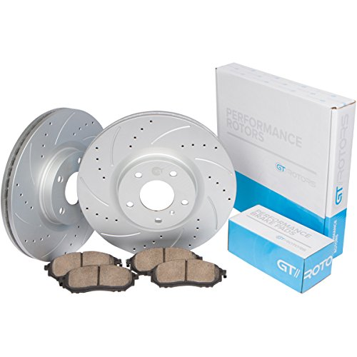 [Front Set] Performance Brake Disc Rotors & Ceramic Pads for Hyundai Sonata 4 Cylinder [2005-2010] Tucson [05-09] Kia Optima [2006-2010] Sportage ()