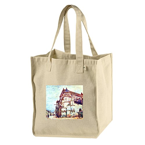 Church In Moret, After The Rain (Sisley) Hemp/Cotton Canvas Market Bag Tote by Style in Print