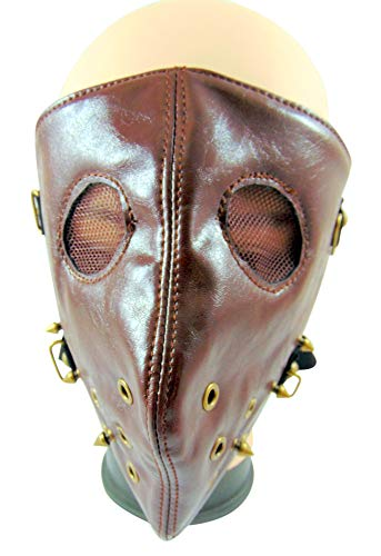 Westman Works Brown Biker Face Mask Scary Motorsports Vinyl Headwear Balaclava with Spikes