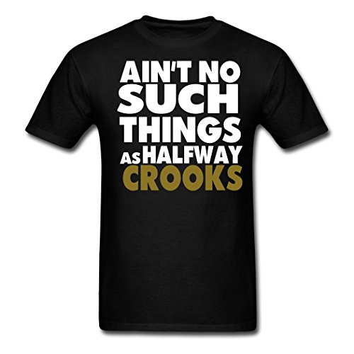 Oyasumi adult Black Aint No Such Things As Halfway Crooks tee shirt XXL (Ain T No Such Things As Halfway Crooks)