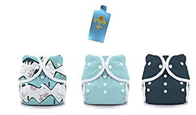 Thirsties Duo Wrap Snaps Diaper Covers 3 pack Combo: Mountain Bike, Aqua, Midnight Blue Sz 2