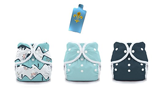 Thirsties Duo Wrap Snaps Diaper Covers 3 pack Combo: Mountain Bike, Aqua, Midnight Blue Sz 1