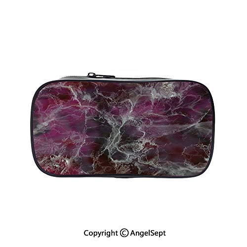 Big Capacity Pencil Case 1L Storage,Psychedelic Stylized Artistic Dark Colors Cloudy Onyx Stone Surface Print Decorative Charcoal Grey Magenta 5.1inches,Desk Pen Pencil Marker Stationery Organizer Wi