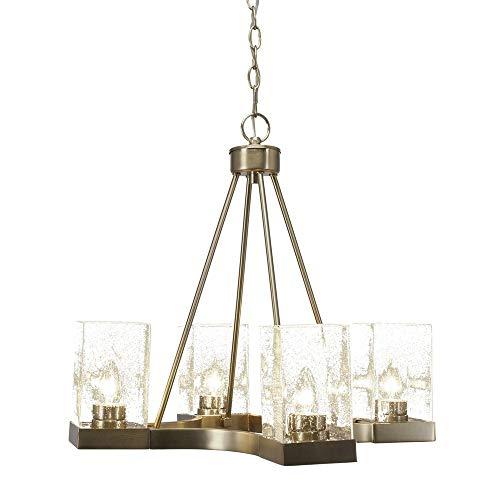 Nouveau Brass Chandelier - Toltec Lighting 3024-NAB-530 Nouvelle - Four Light Chandelier, New Age Brass Finish with Clear Bubble Glass